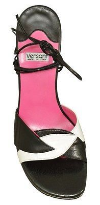 Versani 398 Leather Ankle Tie Sandal Womens Shoes Black And White Size 7.5