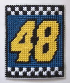 Jimmie Johnson #48 Nascar tissue box cover in plastic canvas (pattern) - $2.50