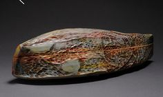 "Michael Smithhammer red box white stoneware, glaze, colored stains 3"" x 4"" x 12"""