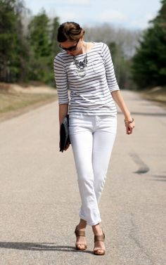 A striped shirt is fresh with white jeans