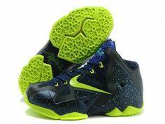 Nike LeBron 11 Dark Blue Navy Volt Black Shoes discount sale online. Shop the cheap