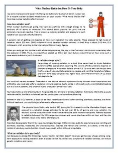 What Nuclear Radiation Does To Your Body - Reading Comprehension Worksheet Comprehension Exercises, Reading Comprehension Worksheets, Comprehension Questions, Teaching Art, Teaching Resources, Science Worksheets, Esl, Speakers, Learn English