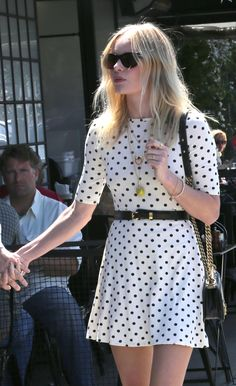 June 2012 // Kate Bosworth in ASOS Skater Dress in Spot Print.
