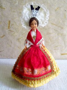 FREE SHIPPING - French Champagne costume doll, folk doll, vintage