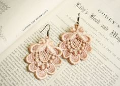 lace earrings ROSALYN vintage blush tinaevarenee on Etsy Diy Lace Earrings, Crochet Earrings, Hairpin Lace Crochet, Funny Tattoos, Wedding Tattoos, Bijoux Diy, Fabric Jewelry, Antique Lace, Beaded Lace