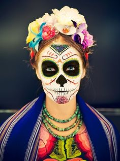 Day of the Dead Frida Kahlo | Face Paint Body Paint | Pinterest