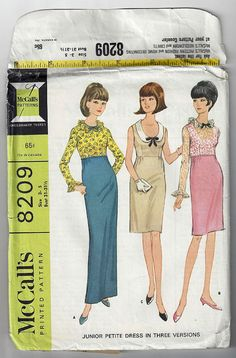 Vintage 1960s Junior Petite Dress Sewing Pattern with three necklines and two sleeve and skirt lengths