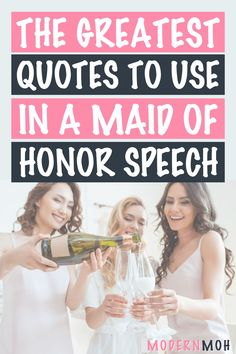 Want to take your wedding toast to the next level? Check out our 35 maid of honor speech quotes guaranteed to get glasses clinking! #maidofhonortoastquotes #maidofhonorspeechquotes #ModernMaidofHonor #ModernMOH Best Friend Wedding Quotes, Wedding Toast Quotes, Best Friend Wedding Speech, Wedding Speech Quotes, Wedding Day Quotes, Best Wedding Speeches, Wedding Toasts, Wedding Things, Wedding Ideas