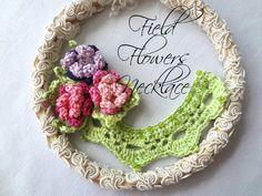 Crochet PDF Pattern Field Flowers ecklace  crochted by sewella