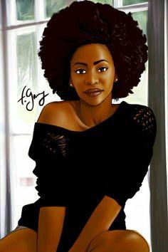 Artwork by Garry Firmin Black Love Art, Black Girl Art, Black Girls Rock, Black Is Beautiful, Black Girl Magic, Art Girl, Black Ish, Beautiful Gif, Natural Hair Art