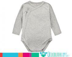 Organic Cotton Infant Baby Onesies Double Long Sleeve Plain Dark Grey