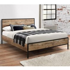 Who would have thought industrial style could be so chic? The edgy Happy Beds Urban Rustic bed looks like it would be right at home in the converted New York apartment of your dreams. With a wood-effect finish, bold black lines and a supportive slatted ba Wooden King Size Bed, Wooden Double Bed, King Size Bed Frame, Double Beds, Wooden Bed Base, Rustic Wooden Bed, King Metal Bed Frame, Wooden Bed Frames, Wood Beds