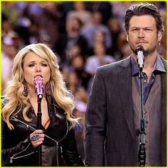 Miranda Lambert & Blake Shelton, so cute. Best performance of the Super Bowl as far as I'm concerned! Miranda Blake, Blake Shelton Miranda Lambert, Country Couples, Country Girls, Cute Couples, Country Music Stars, Country Singers, Celebs, Celebrities