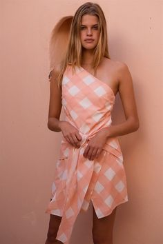 Wrap Mini - Peach Gingham - Dresses by Sabo Luxe | SABO SKIRT Poor Little Rich Girl, Sabo Skirt, Gingham Dress, Skirt Fashion, Wrap Style, Wrap Dress, Cotton Fabric, One Shoulder, Peach
