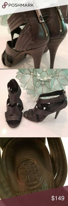 """TORY BURCH Strappy Summer Heels! Like New! Stunning Tory Burch 4"""" heels in strappy black leather! Zips on heel with signature T on pull. Worn once, like new! No box. Fits true to size. Stylish & beautiful for Summer nights out! Tory Burch Shoes Heels"""