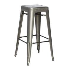 Chintaly Galvanized Steel Counter Stool (Set of 4) 8015-CS-GUN - Home Bars USA