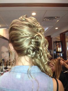 Bridesmaid hair - curled, braided, and pulled to the side
