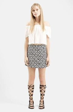 Topshop+Jacquard+Print+A-Line+Skirt+available+at+#Nordstrom
