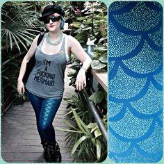 nylon mermaid print leggings by castle corsetry