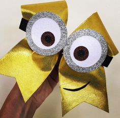 Deluxe Spandex Minion Cheer Bow with Glitter Goggles FREE SHIPPING!