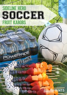 Soccer Snack Fruit Kabobs by DimplePrints Soccer Birthday Parties, Soccer Party, Sports Party, 7th Birthday, Birthday Ideas, Soccer Cake, Football Birthday, Kid Parties, School Parties