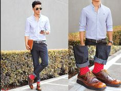 David Guison - Penguin Button Down, Cole Haan Lunargrand - Balanced Life Fashion Socks, Dope Fashion, Fashion Outfits, Mens Fashion, Classic Chic, Well Dressed Men, Gentleman Style, Swagg, Cole Haan