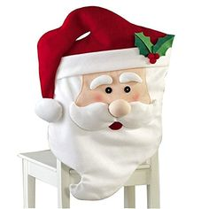 Toponechoice Handmade 3D Santa Xmas Kitchen Decoration Christmas Chair Cover (Santa Claus) ** Additional info @