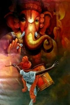 Make this Ganesha Chathurthi 2020 special with rituals and ceremonies. Lord Ganesha is a powerful god that removes Hurdles, grants Wealth, Knowledge & Wisdom. Lord Ganesha Paintings, Ganesha Art, Krishna Art, Shri Ganesh, Baby Ganesha, Ganesha Tattoo, Krishna Painting, Hanuman, Lord Krishna