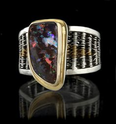 Australian boulder opal ring with 22k gold and fine & sterling silver.- Cynthia Downs