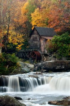 'The Grist Mill' ~ Babcock State Park, West Virginia.  What a beautiful place I frequented here as a child when I would go visit my great aunt in Rainelle WV.  It most beautiful during the fall during the foliage change.  I really like the contrast between the white water and warm colored trees.  Babcock is a sign of abandoned industry of what there once was.