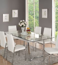 Condo Decor Acme 73150 Osias White Chrome Clear Glass Dining Table How Does Your Garden Grow: Tips F White Glass Dining Table, Glass Dining Room Table, White Dining Chairs, Dining Room Design, Glass Dining Table Rectangular, Rooms Ideas, Dining Table Dimensions, Ikea, Home And Deco
