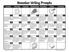 November Writing Prompts from Lakeshore Learning! November Writing Prompts from Lakeshore Learning! Writing Prompts 2nd Grade, Third Grade Writing, Writing Prompts For Writers, Creative Writing Prompts, Writing Lessons, Kids Writing, Teaching Writing, Writing Ideas, Second Grade