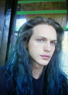 Sweet and interesting guy with gorgeous blue hair...