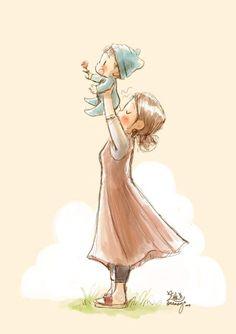 Baby Drawing, Drawing Poses, Girly Drawings, Disney Drawings, Ink Illustrations, Cute Illustration, Unicornios Wallpaper, Baby Painting, Fantasy Drawings