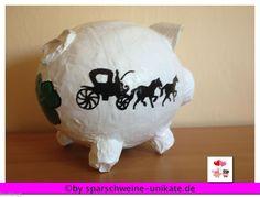 Sehr grosses Sparschwein - Geldgeschenk - Flitterkasse,BOX - Hochzeitskutsche -