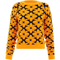 Emma Cook Floral Ski Orange Jumper ($165) ❤ liked on Polyvore featuring tops, sweaters, shirts, orange, long sleeve sweaters, orange sweater, ski jumper, orange top and long sleeve tops
