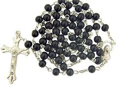 Black Glass Beads Rosary, 6mm Beads, Great for Men or Boys by CB *** ADDITIONAL INFO @ http://www.laminatepanel.com/store/black-glass-beads-rosary-6mm-beads-great-for-men-or-boys-by-cb/?a=1346