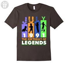 Mens Legends Born In July 1991 T Shirt Birthday Gift 26 Years Old Small Asphalt - Birthday shirts (*Amazon Partner-Link)