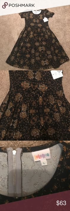NWT Lularoe Amelia New lularoe Amelia dress, size large, solid black background with gold and cream. Handmade and only about a hundred a released a week, see pic 5 for size chart.  ***PRICE FIRM BELOW RETAIL*** LuLaRoe Dresses Midi