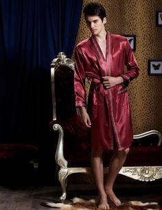 Fashion Men Robe Full Sleeve Solid Bathrobes Sexy V-neck Sleepwear  Emulation Silk Robes Plus. Mens SleepwearSatin ... a1e5e25b2