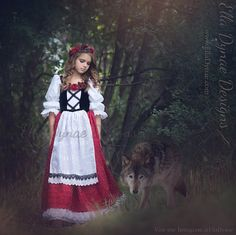 Little Red Riding Hood Costume Princess Peasant Dress by EllaDynae