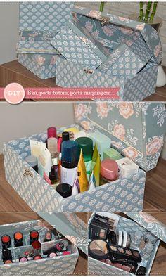 D.I.Y   Caixas forradas com tecido perfeitas para cosméticos e maquiagens
