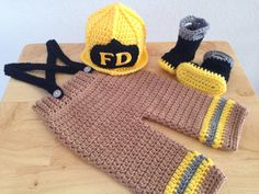 CROCHET PATTERN, 6 Month Size, Baby Fireman Pants, Suspenders & Boots on Etsy, $12.50