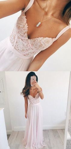 Elegant A-line V-neck Long Chiffon Baby Pink Long Prom Dress Evening Dress #promdresses