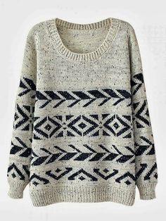 Adorable Round Neck Balck & White Warm Sweater #fashion
