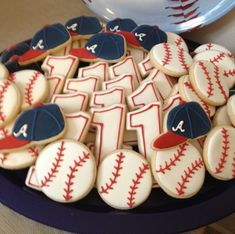 Atlanta Braves baseball and cap - 2014 Father's Day baseball cookies Baseball First Birthday, Boys First Birthday Party Ideas, Baby Boy 1st Birthday, Kids Baseball Party, Vintage Baseball Party, Baseball Food, Baseball Videos, Baseball Wall, Birthday Weekend