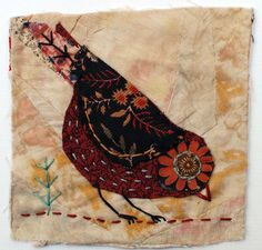 Example for crazy quilt: Unframed appliqued bird with embroidery on to vintage crazy quilt scrap via Etsy Bird Applique, Bird Embroidery, Wool Applique, Applique Quilts, Embroidery Stitches, Vintage Embroidery, Embroidery Designs, Fabric Birds, Fabric Art