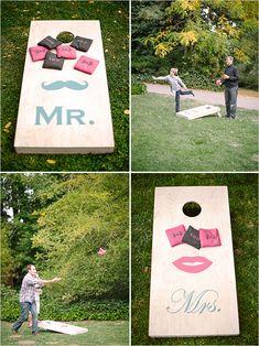 A fun idea for wedding lawn games; wedding corn hole! | Wedding Chicks