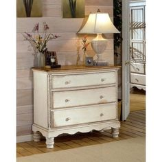 Wilshire Antique White Bedside Chest | Overstock.com Shopping - The Best Deals on Dressers