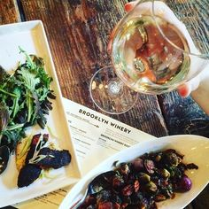 Blackened catfish, crispy brussels sprouts, and Unoaked Chardonnay in the Brooklyn Winery wine bar! YUM!